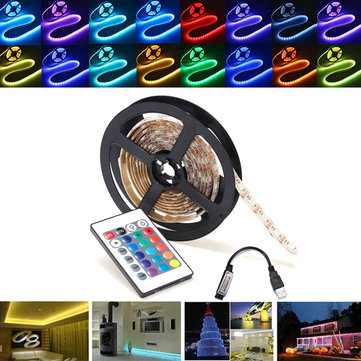 0.5/1/2/3/4/5M RGB SMD5050 Waterproof LED Strip Light TV Backlilghting Kit + USB Remote Control DC5V