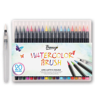 20 Colors Watercolor Drawing Writing Brush Artist Sketch Manga Marker Pen Set