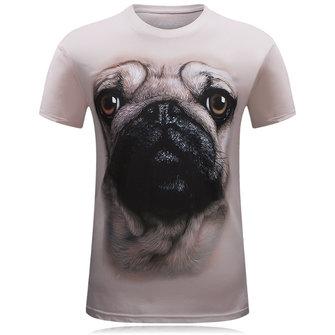 पुरुषों 3 डी पशु पैटर्न मुद्रण प्लस आकार आकस्मिक व्यक्तित्व लघु आस्तीन टी शर्ट
