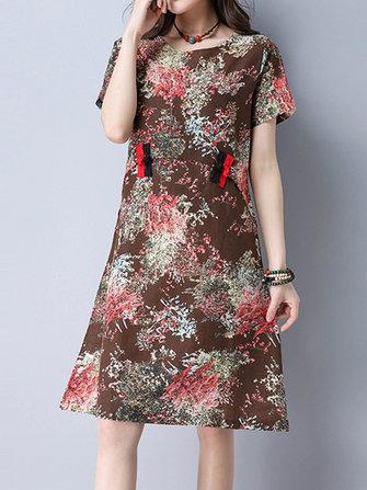 וינטג 'נשים O- הצוואר מודפס צמיד באקל שמלות שרוול קצר