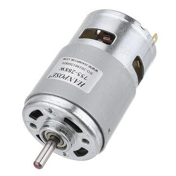 HANPOSE 775 Motor DC 12V 24V 80W 150W 288W DC Motor Large Torque High Power DC Motor Double Ball Bearing Spindle Motor