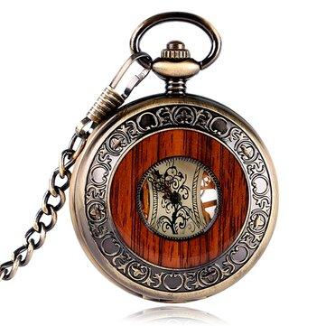 Deffrun Vintage Hand Wind Meccanico Orologio da taschino di design in legno