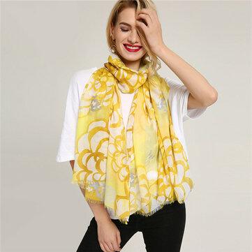 Mujer cálida flor Patrón étnica bufanda de algodón pintura primavera chal bufandas