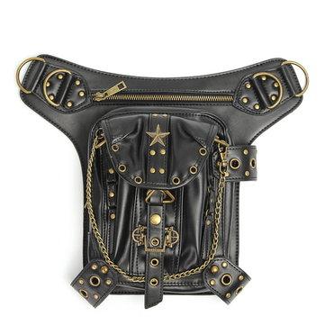 Steampunk Waist Leg Leather Bag Hip Holster Purse Vintage Pouch Belt Punk Locomotive Bag