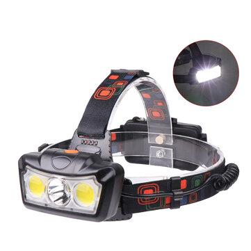 XANES® 1300LM T6 + 2xCOB LED HeadLamp Waterproof 4 Mode Luar Menjalankan Camping Hiking Bersepeda Cahaya 2x18650 DC Antarmuka Isi Ulang