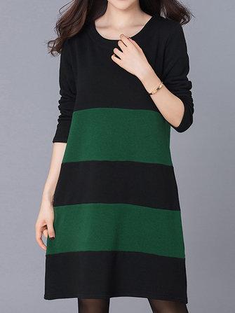 आरामदायक महिला लूज पटाया पैचवर्क लंबी आस्तीन मोटाई पोशाक