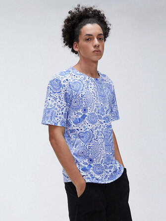Mens Fashion Abstract Pattern Printing Breathable Crew Neck Casual T-Shirts