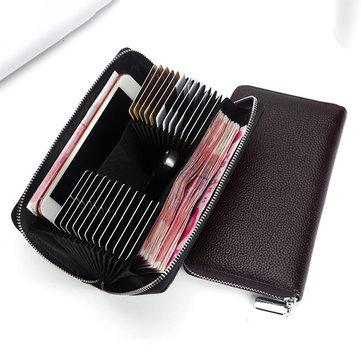 メンズ24カードスロット 本革6インチ携帯や車のキーバッグ カードホルダー ロングウォレット