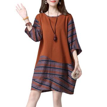सुरुचिपूर्ण महिला पैचवर्क स्ट्रिप ओ-नेक 3/4 आस्तीन लूज ड्रेस