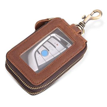 Women Men Double Zipper Large Capacity Waist Car Key Case Clutches Bag