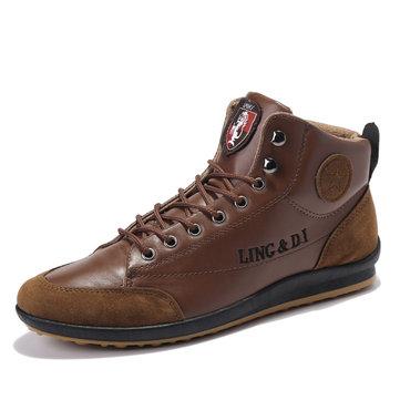 Comfy Men Casual Leather Höga Sneakers Ankel Stövlar Snörskor