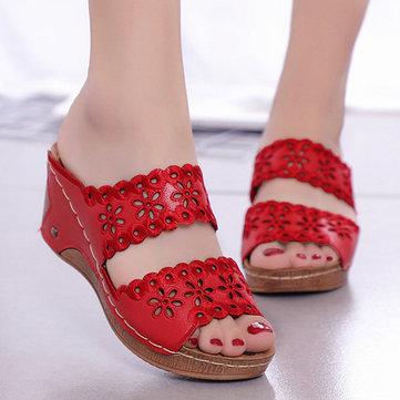 Mujer Zapatos Casual Flores Hollow Gancho Loop Sandalias
