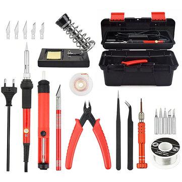 25Pcs 220V 60W Adjustable Temperature Electrical Solder Iron Kit SMD Welding Repair Tool Set Tool Box