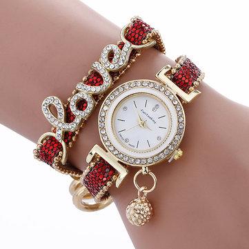 Fashion Mewah Wanita Cinta Kata Leather Strap Quartz Watch