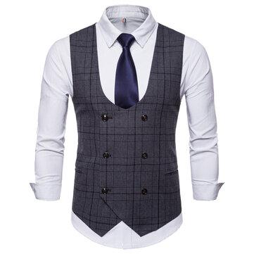 Fashion Business Plaid Waistcoat Suit Vest for Men
