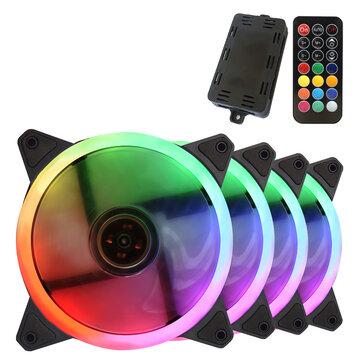 4Pcs/set 12CM Colorful RGB Fans Dream RGB Halo Cooling Fan Computer Case CPU Cooler Desktop Chassis Silent Radiator