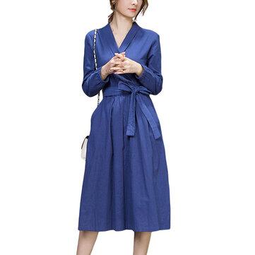 חגורת חגורת עבודה רזה צבע טהור ארוך שרוול V צוואר כיס נשים Midi השמלה