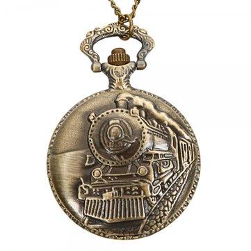DEFFRUN Pola Kereta Antik Retro Bronze Quartz Pocket Watch