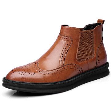 Comfy Brogue Style Giày cao đến mắt cá chân Classic Dây đeo bằng da chính hãng cho nam