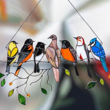 Προσφορά / Κουπόνι για το προϊόν: Outdoor Garden Simple Cartoon Birds Stained Glass Home Wall Decoration Window Hanging Accessories Gift με τιμή 10.99€