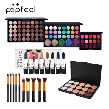Buy POPFEEL 6Pcs Makeup Set Easy To Apply Foundation Liquid Foundation Eye Shadow With Brush Tool with Litecoins with Free Shipping on Gipsybee.com