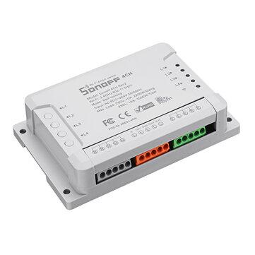 SONOFF® 4CH R2 4 kênh 10A 2200W 2.4Ghz Smart Home WIFI Wireless Wireless Switch APP Điều khiển từ xa AC 90V-250V 50 / 60Hz Mô-đun tự động lắp đặt đường ray Din