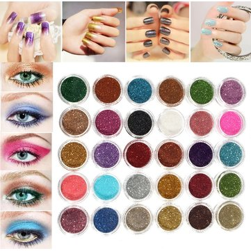 30 Colors Pro Makeup Glitter Powder Eyeshadow Pigment Eye Shadow Cosmetic Nail Art DIY