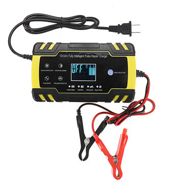 Enusic™ 12/24V 8A/4A Touch Screen Pulse Repair LCD Battery Charger For Car Motorcycle Lead Acid Battery Agm Gel Wet