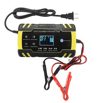 Enusic ™ 12 / 24V 8A / 4A टच स्क्रीन पल्स मरम्मत एलसीडी बैटरी चार्जर कार मोटरसाइकिल लीड एसिड बैटरी Agm जेल गीला क