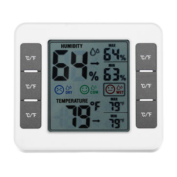 LCD Digital Thermometer Hygrometer Indoor Bedroom Temperature Humidity Meter