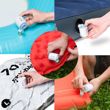 FLEXTAILGEAR 3 in 1 Mini Electric Inflatable Air Pump Adjustable Camping Light Ultralight 3.5KPa Inflator 3 KPa Exhaust Multifunctional USB Charging 3 Modes Camping Light