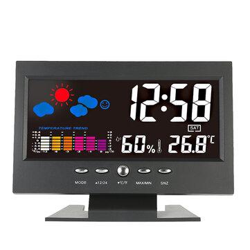 Digital Termómetro Higrómetro Estación meteorológica de alarma Reloj Medidor de temperatura colorido LCD Calendario Vioce-activado retroiluminación
