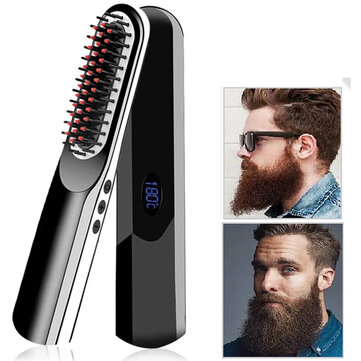Multi functional Cordless USB Charging Hair Straightening Brush LCD Wireless Men Beard Straightener Hair Style Comb Coupon Code and price! - $25