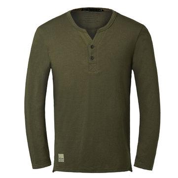 पुरुषों की वी-गर्दन ठोस रंग लंबी आस्तीन कौसल कपास टी शर्ट