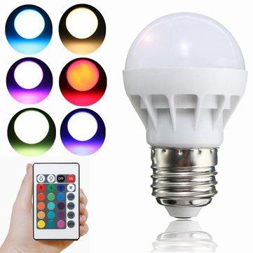 E27 LED RGB Bulb 3W SMD 5630 Color Changing 24 Keys IR Remote Control Globe Light Lamp AC 85-265V