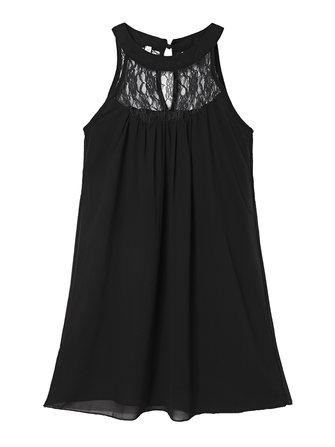 सेक्सी लूज महिला सॉलिड हल्टर फीता पैचवर्क शिफॉन मिनी ड्रेस