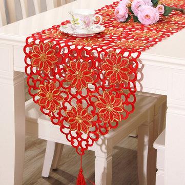Tabela do vintage bandeira corredor toalha flor vermelha com borla casa casamento decoração de festa