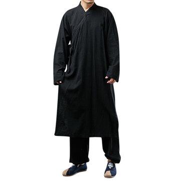ChArmkpR Vintage Vestido para Meditación China Hanfu Suelta Túnica Traje Zen para Hombres