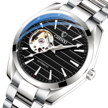 CHENXI 8806 Fashion Men Automatic Watch Hollow Dial Luminous Display Stainless Steel Strap Waterproof Simple Mechanical Watch for sale in Litecoin with Fast and Free Shipping on Gipsybee.com