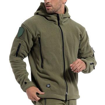Hombres Táctica Chaqueta Militar de Invierno de Lona con Capucha de Deportes al Aire Libre