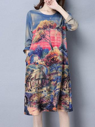 महिला दृश्य मुद्रित लूज ओ-गर्दन पॉकेट लंबी आस्तीन ड्रेस