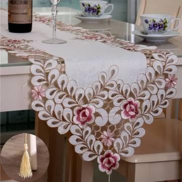 Quatro tamanho da tabela pastoral flor corredor toalha de mesa de casamento festa em casa esteira decorativa