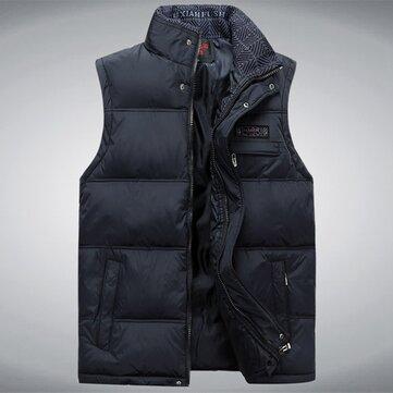 शीतकालीन मोटी गर्म आस्तीन पिताजी वेस्ट स्टैंड कॉलर जिपर शुद्ध रंग जैकेट