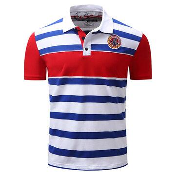 Los hombres de verano Turn-down Collar Golf Camisa Los negocios ocasionales de rayas bordado Tops de impresión