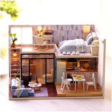 Casa DIY Azul CuteRoom L-023 Con Modelo Miniatura de Mueble Música Luz Cubierta Regalo Decoración