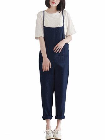 Casual Women Loose Pure Color Suspender Jumpsuit