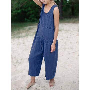 M-5XL Women Sleeveless Solid Color Loose Cotton Jumpsuit