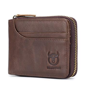 Bullcaptain Zip Around Wallet RFID Blocking Secure Leather Card Holder Wallet for Men