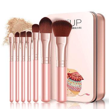 7Pcs Cosmetic Brushes Set Foundation Brush Eye Shadow Lip Brow Brush Makeup Tools Set