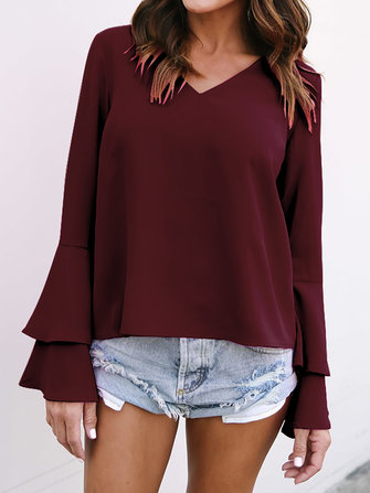 Women V Neck Chiffon Long Bell Sleeve Casual Loose Tops Blouses